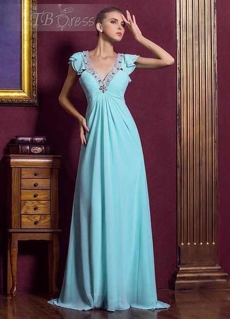 Gorgeous Empire Floor-length Deep V-neck Zipper-up Beading Mother of the Bride Dress | skirt | Scoop.it