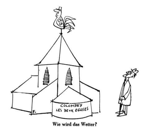 Caricature de Flora sur la rencontre entre le général de Gaulle et Konrad Adenauer à Colombey-les-deux-Églises (19 septembre 1958) - cvce.eu | 50e anniversaire du Traité de l'Elysée | Scoop.it