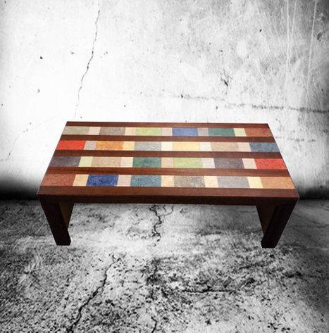 Sidetable/bijzettafel met hout en linoleum mozaik | Creatief Hergebruik | Scoop.it
