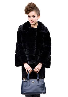 Black faux transverse shear rabbit fur wommen hip-length jacket | Comfortable faux fur coat fashion | Scoop.it