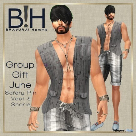 Vest and Shorts July 2015 Group Gift by BRAVURA! Homme | Teleport Hub - Second Life Freebies | Second Life Freebies | Scoop.it