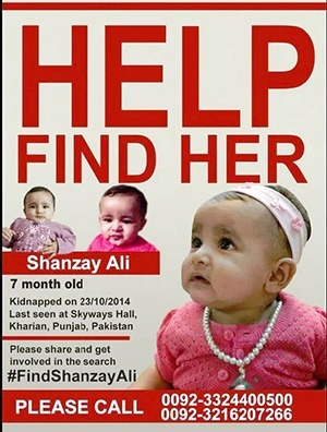 Shanzay Ali Hassan (7-months-old) abducted from Kharian (Pakistan) on October 23, 2014 | Missing Children | Scoop.it