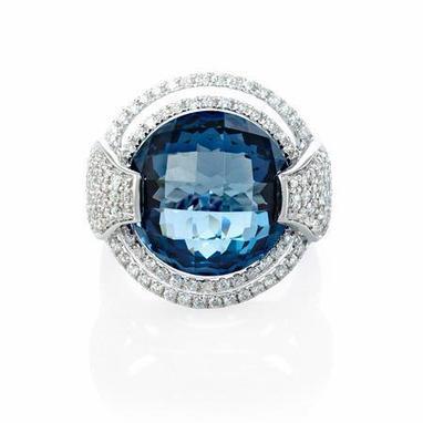 Diamond and London Blue Topaz 18k White Gold Ring | Riveting Rings | Scoop.it