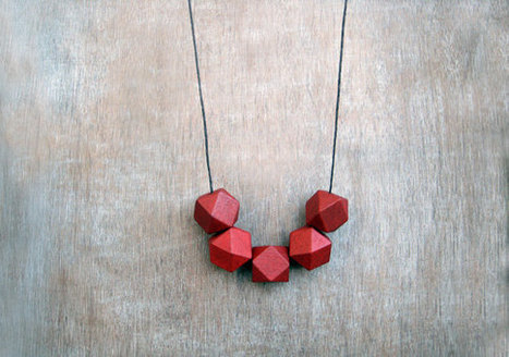 Wooden  Geometric Necklace Red | Etsymode | Scoop.it