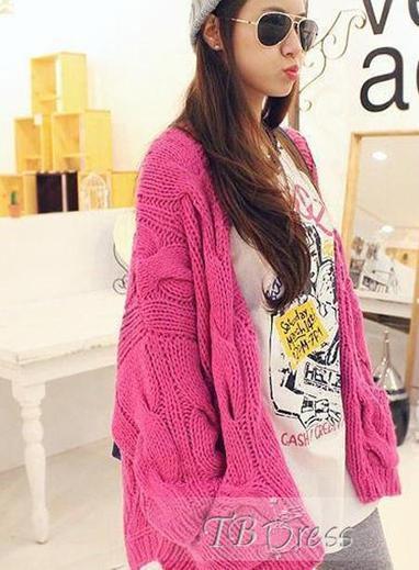 Brilliant Pure Color Single-breasted Wide Twist Knit Korean Outwear Sweater   fashion   Scoop.it