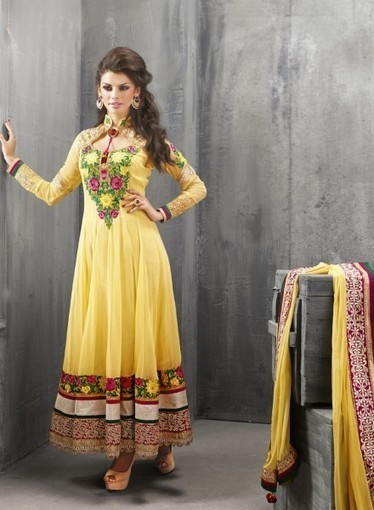Shop online affordable Yellow Anarkali In Georgette with Dangler,Lace GF7140219 | Anarkali Suit | Scoop.it