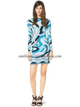 EMILIO PUCCI Summer Blue Longsleeve Printed Jersey Dress [Summer Blue print dress] - $184.99 : Emilio pucci dress sale online outlet,60% off & free shipping! | fashion things | Scoop.it