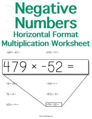 Multiplying Negatives Worksheet Maker - Horizontal Format | Math Worksheets and Flash Cards | Scoop.it