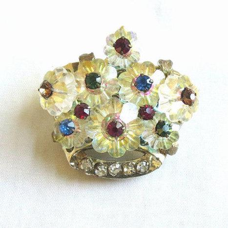 Vintage Crystal Rivoli Margaritas & Red, Green, Blue and Pink Rhinestones CROWN Brooch or Pin   Favorite Vintage Jewelry   Scoop.it