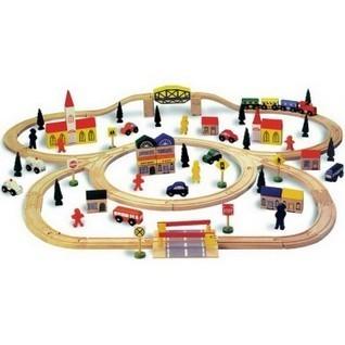 Circuit de train en bois avec accessoires de 100 pièces - ConfortMaison | Mes envies shopping ! | Scoop.it