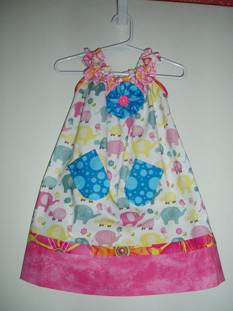 Sweet Little Handmade Girls Sundress with pockets and embellishments in cute elephant print with Teal and Pink Accents SIZE 2 | Cool Stuff | Scoop.it