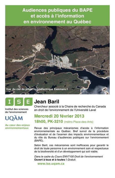 UQAM   Faculté des sciences   ISE   Conférence : Audiences publiques du BAPE et accès à l'information en environnement au Québec   Élément terre   Scoop.it