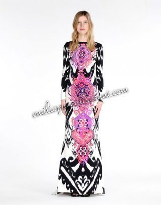 EMILIO PUCCI Gown Pink Black Royal Print Long Dress Online | fashion things | Scoop.it