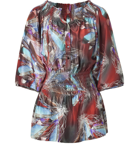 Rust Smocked Silk Top with Feather Print , Apparel and Accessories Products, Women's Clothing Manufacturers, Rust Smocked Silk Top with Feather Print Suppliers and Exporters Directory   Adventure Tours   Scoop.it