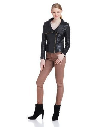 Badgley Mischka Women's Mel Leather Jacket Leather Jacket, Black, Large | Big Deals Fashion Today | Scoop.it