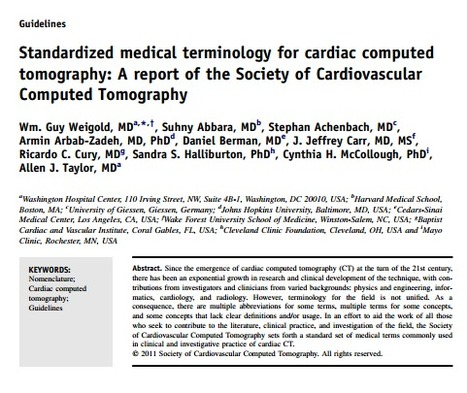 (EN) (PDF) - Standardized medical terminology for cardiac computed tomography: A report of the Society of Cardiovascular Computed Tomography | scct.org | Glossarissimo! | Scoop.it