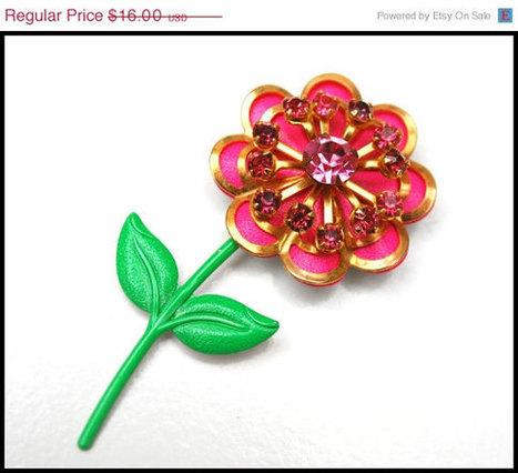 Vintage Pink Rhinestone Enamel Flowr Brooch   vintage jewelry   Scoop.it