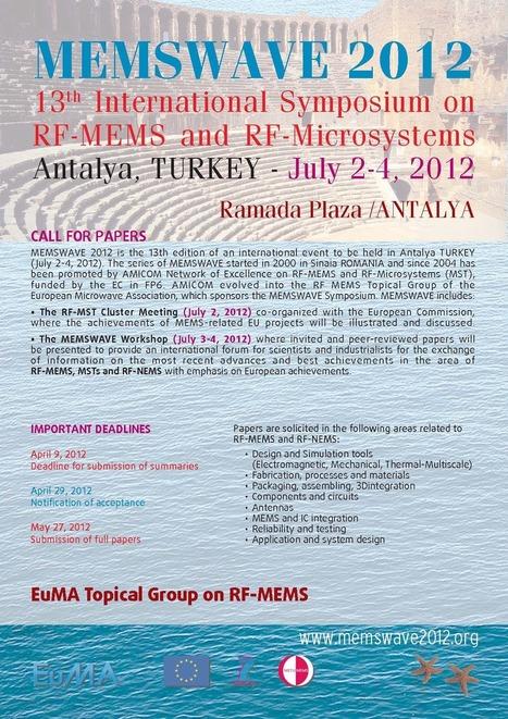 MEMSWAVE 2012 » 2 - 4 July 2012 // Antalya - Turkey | RF MEMS Mag | Scoop.it