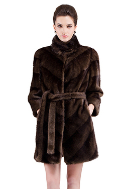 Faux brown mink fur stand collar middle fur coat | Comfortable faux fur coat fashion | Scoop.it