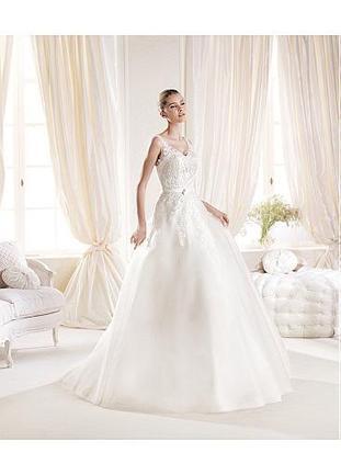 [189.99] Gorgeous Tulle & Satin V-neck Natural Waistline A-line Wedding Dress - Dressilyme.com | Wedding dresses | Scoop.it