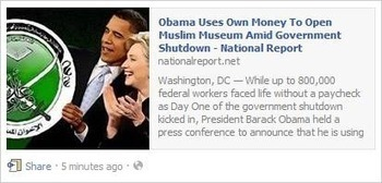 FAKE NEWS: Obama Uses Own Money to Open Muslim Museum | cultural life | Scoop.it