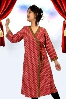 Red 3/4th Sleeve Cotton Printed Kurti-M-132-RST - KURTIS | KURTIS | Scoop.it