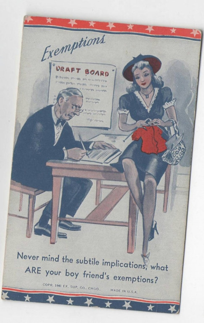 Unused Vivid Vintage 1940's Exemptions Draft WWll Witty Post Card | Sex History | Scoop.it