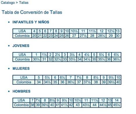 Tabla de conversión de tallas para Zapatos USA-Colombia | Calzado | Scoop.it