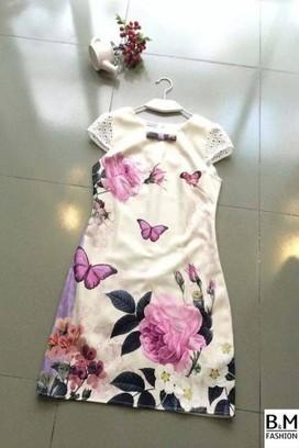 Váy suông công sở tay sen họa tiết bướm hoa - Shophoitu.com | Đang khuyến mại | Trịnh quốc mạnh | Scoop.it