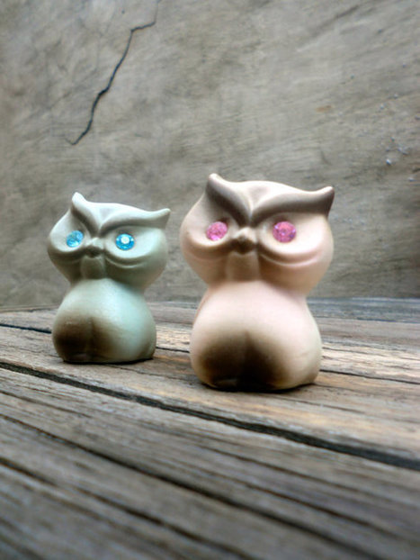 2 Cute Owl Figurines   Mid Century   Scoop.it