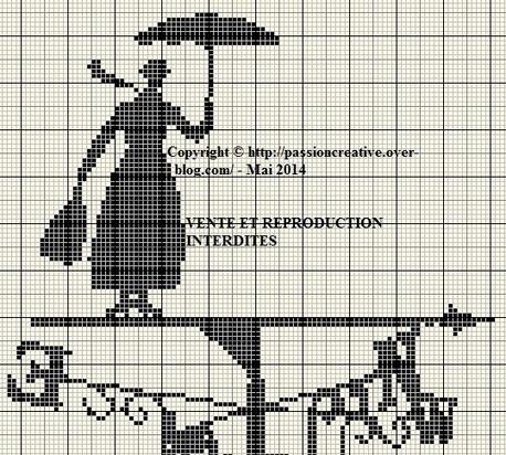 Grille gratuite point de croix : Mary Poppins 2...