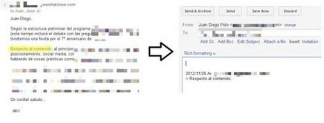 El truco de Gmail que pocos conocen: responder solo el texto seleccionado | IKT-TIC | Scoop.it
