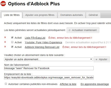 "Comment supprimer la notification de message ""vu"" de Facebook avec Adblock Plus ? [Tuto] 