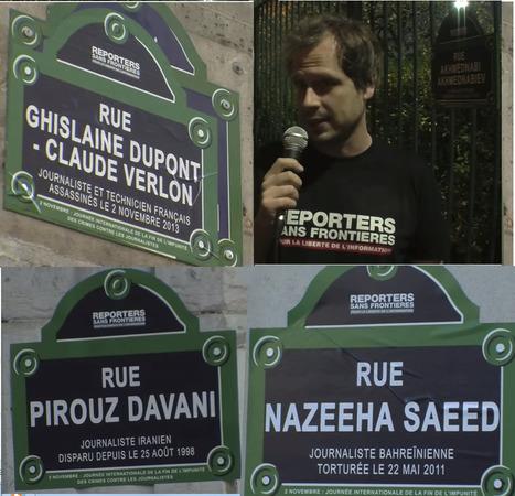 Des rues parisiennes symboliquement rebaptisées avec les noms de journalistes tués | DocPresseESJ | Scoop.it