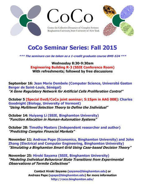 Fall 2015 CoCo Seminar Series Schedule | Center for Collective Dynamics of Complex Systems (CoCo) | Scoop.it