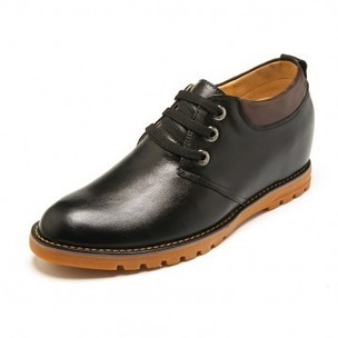Fashion genuine leather elevated shoes 7cm / 2.75inch black plain toe lace up dress shoes on sale at topoutshoes.com | Elevator Casual shoes men height increasing Taller | Scoop.it