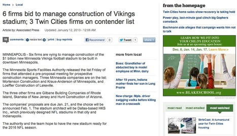 3 out of the 6 Bids on the Construction of the New Vikings Stadium from the Twin Cities | Jordan's Scoop It! | Scoop.it