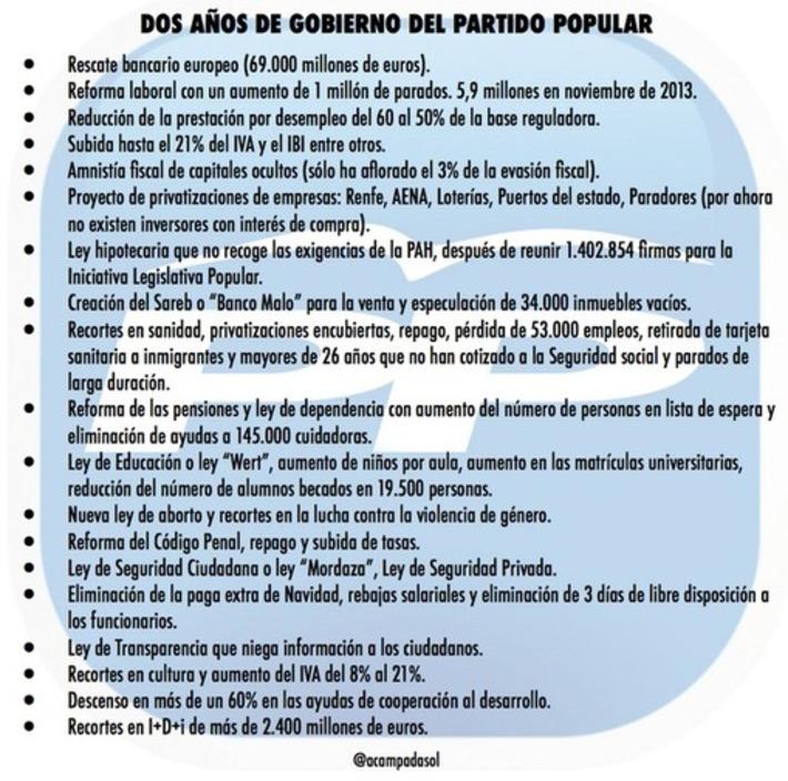 Twitter / acampadasol: Dos años de gobierno del ...   Partido Popular, una visión crítica   Scoop.it