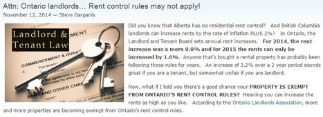 Toronto Property Management—Is Your Property Exempt from Rent Control? | Comfield Management Services | Scoop.it