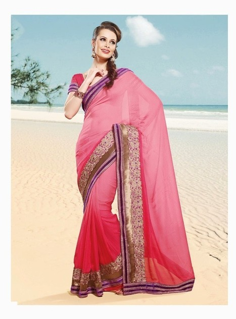 Gravity Fashion - Alluring Deep Pink Embroidered Saree | If loving Fashion is a Crime, We Plead Guilty | Scoop.it