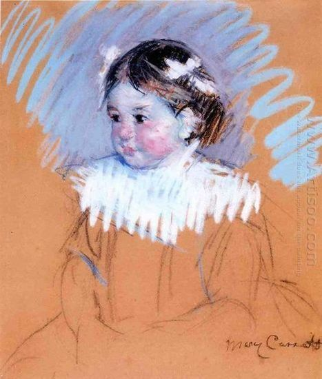 Oil painting reproduction: Mary Cassatt Bust Of Ellen Wiith Bows In Her Hair - Artisoo.com | arts&oil | Scoop.it