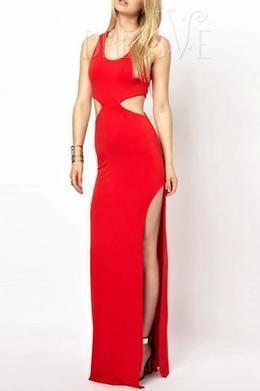 Solid Color Hollow Side Split Maxi Dress   Dressve fashion   Scoop.it