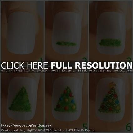 Christmas Tree : Step By Step Easy Nail Art For Kids - Zesty Fashion | nail art | Scoop.it