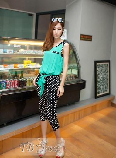 $ 11.79 Classy Leisure Split Joint Assorted Color Polka Dots  Jumpsuits | fashion | Scoop.it