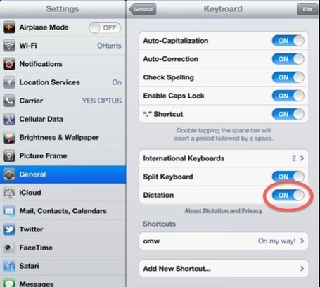 How to activate and use Voice Dictation via the iPad and iPhone onscreen keyboard | The Spectronics Blog | iPads in Education | Scoop.it