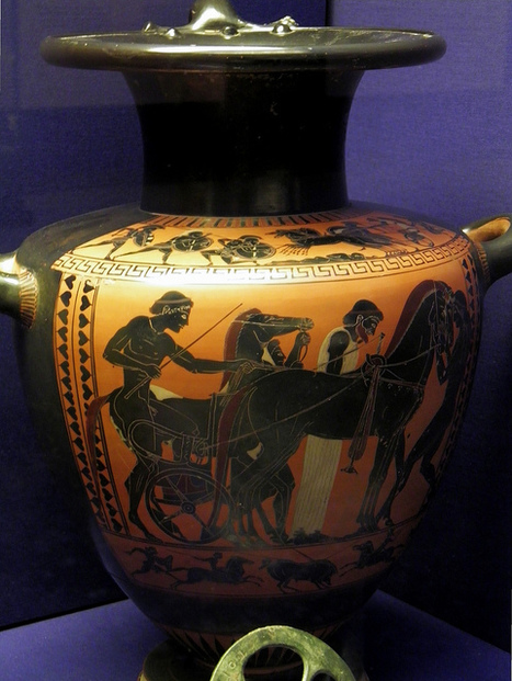 Preparing a chariot for a race, Black-figured hydria, made in Athens about 520-500 BC, attributed to the Antimenes painter, Winning at the ancient Games, British Museum | Salvete discipuli | Scoop.it