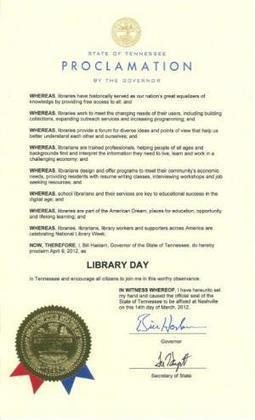 April 9 is Tennessee LibraryDay | Tennessee Libraries | Scoop.it