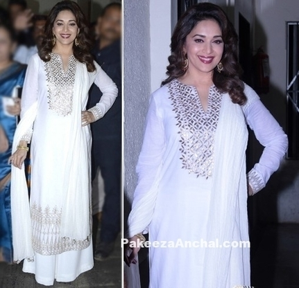 Madhuri Dixit in White Suit with Palazzo Pants by Anita Dongre | Indian Fashion Updates | Scoop.it
