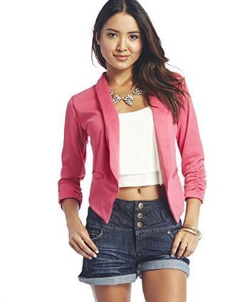 Wet Seal Womens Solid Ruched-Sleeve Blazer | special scoops | Scoop.it