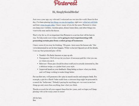 Pinterest Plans for Future by dabbling in Promoting Pins | Social Media by Simply Social Media | Scoop.it